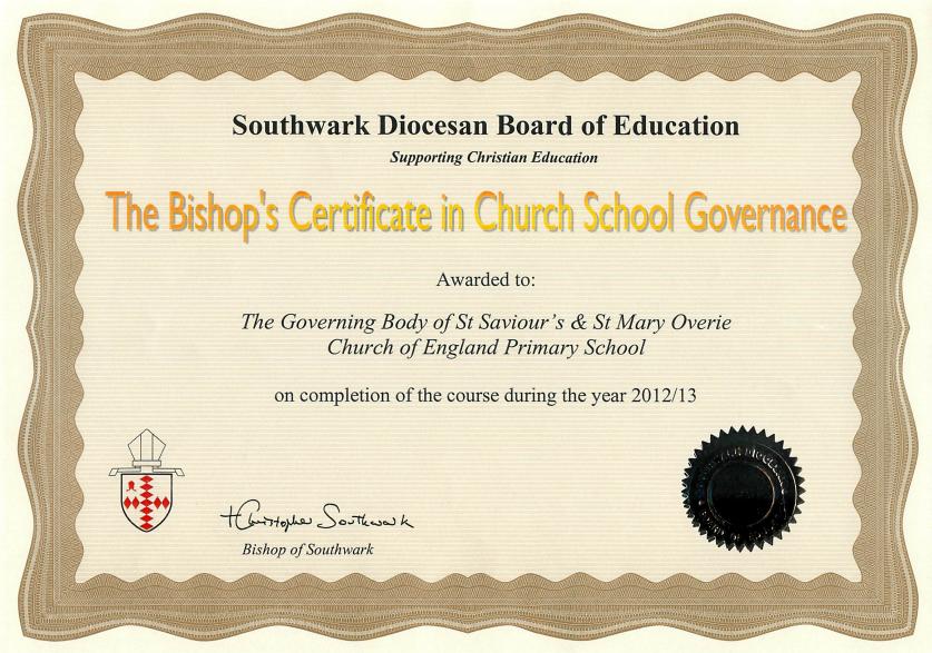 Bishop's Certificate